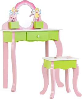 mecor Kids Vanity Set, Little Girls Makeup Table w/Flower Mirror, Non-Toxic Hand Painted Children Vanity Desk with Stool Pink&Green(Green)