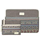 CASE STAR 14-15 Inch Laptop Sleeve Bohemian Canvas Bag Compatible 15 Inch New MacBook Pro with Touch Bar A1707 | A1990 14 Inch ThinkPad Laptop with Small Bag Case (Light Grey)