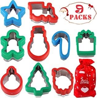 heytech 9 Packs Cookie Cutters for Christmas Winter Christmas Cookie Cutter Set Snowman, Christmas Tree, Candy Cane, Gift Box, Star, Train, Santa, Light Bulb, Gingerbread Man
