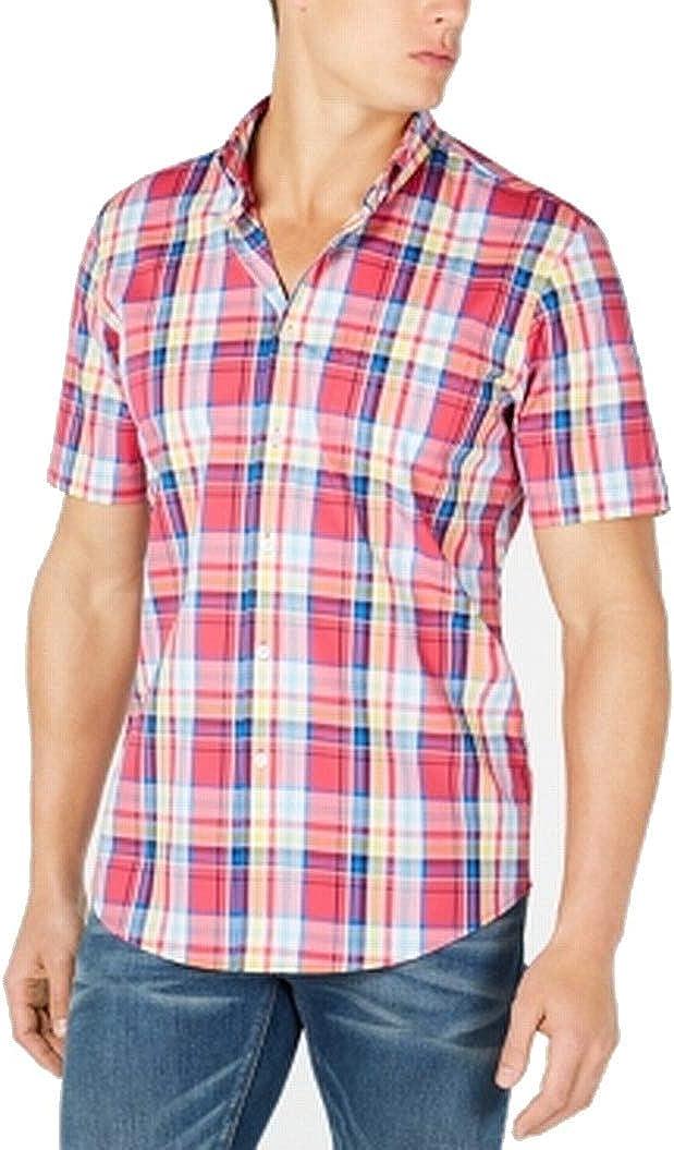 Club Room Mens Shirt Blue Large Button Down Kellen Plaid Pink L