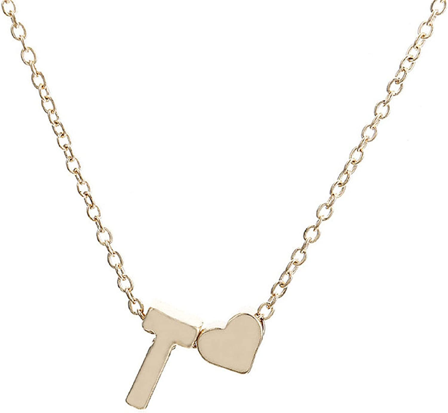 Womens Girls Valentine/'s Gift Script Initial Alphabet 26 Letters Heart Combo Charm Chain Plated Gold Pendant Necklace