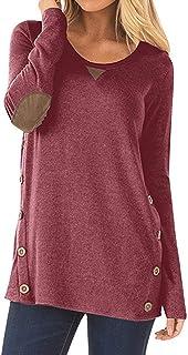 Abravo Camiseta Para Mujer T Shirt Primavera Redondo Túnica de Manga Larga Camisas Casual Suelto Blusas Tops T-Shirt
