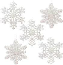 Large Snowflakes - Set of 5 White Glittered Snowflakes - Approximately 12