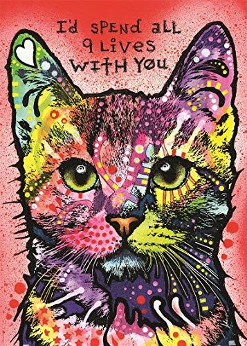 Quadro 5D fai da te per pittura a mosaico per adulti gatto trascorrere tutte le 9 vite con te, pittura rotonda a mosaico (50 x 45 cm)
