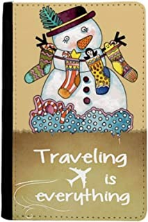 Christmas Snowman Sock Festival Traveling quato Passport Holder Travel Wallet Cover Case Card Purse