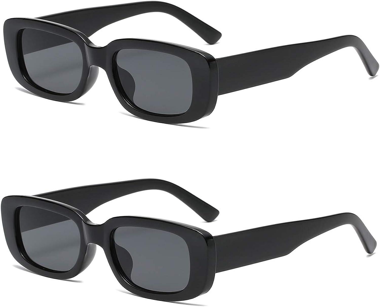 2 Pack Rectangle Sunglasses For Women, OTICALA Vintage Glasses With Square Frame UV400 (Black/Leopard)