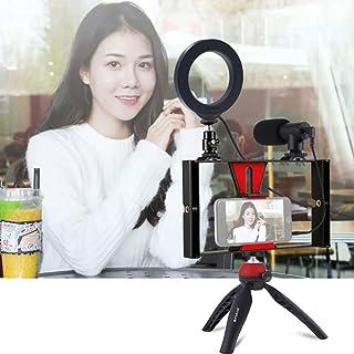 4 En 1 Vlogging Live Broadcast Smartphone Video Rig + 4.7 Pulgadas 12Cm Ring Led Selfie Light Kits Con MicróFono + TríPode...