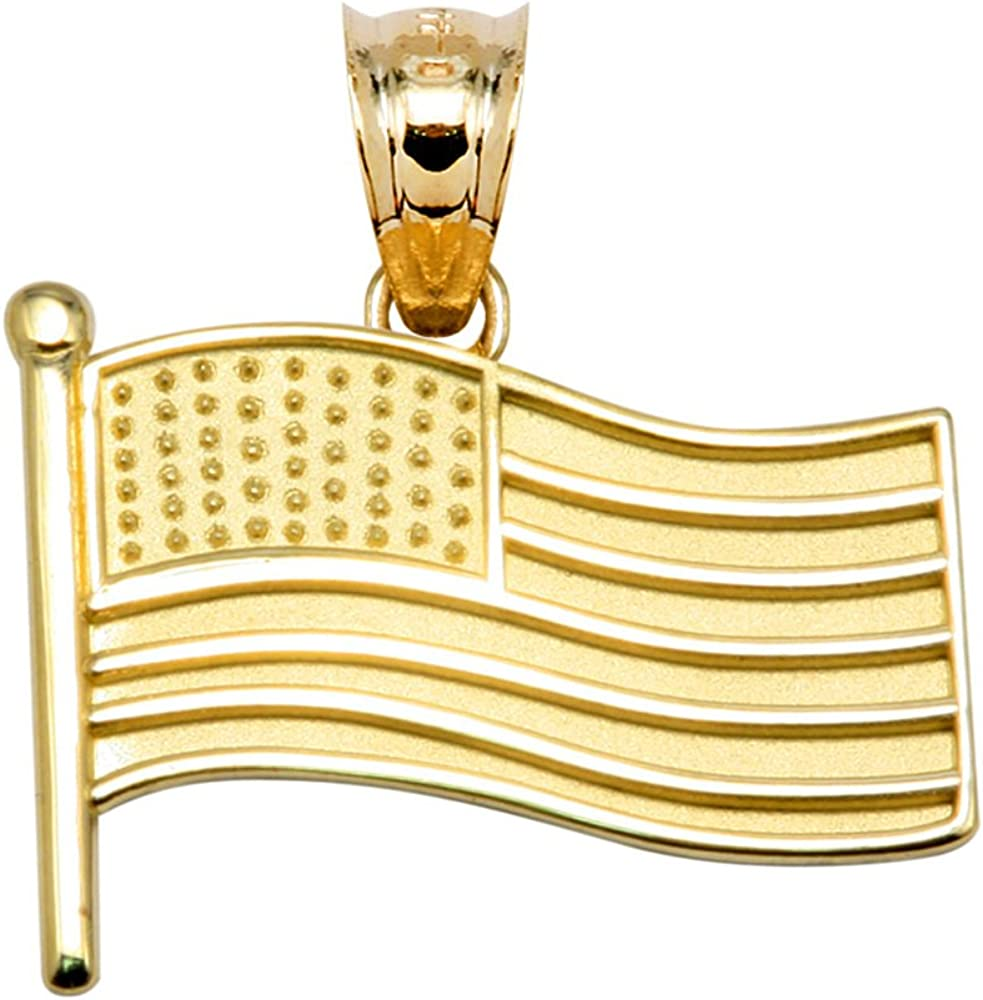 10k Yellow Gold American Limited price Limited price Pendant Flag Charm