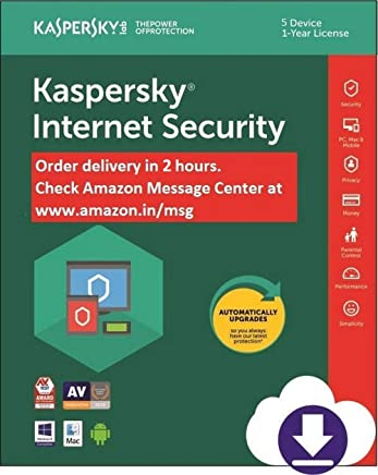 Kaspersky internet Security Latest Version- Multi-Device- 5 PCs, 1 Year (Email Delivery in 2 hours- No CD)