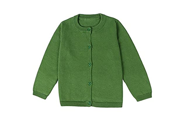 5f4a5a5427 JELEUON Little Girls Cute Crew Neck Button-Down Solid Fine Knit Cardigan  Sweaters
