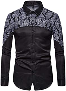 Cromoncent-CA Men Lapel Neck Printed Satin Curved Hem Button Down Shirts