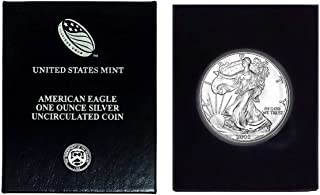 2002 - American Silver Eagle in Plastic Air Tite and Blue Gift Box with our Certificate of Authenticity Dollar Uncirculated Us Mint