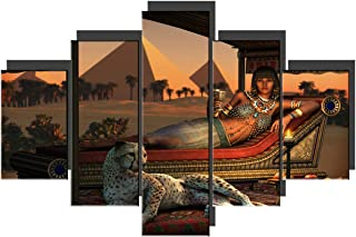 TUMOVO Contemporary Wall Art Ancient Egyptian Lady Artwork on Canvas 5 Piece Prints Painting for Living Room Tame Cheetah Pictures House Decor Wooden Framed Gallery-Wrapped Ready to Hang(60''Wx40''H)