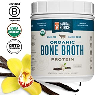 Organic Bone Broth Protein Powder, Best-Tasting Vanilla Flavor – Made from High Quality Grass-Fed Beef Bone Broth *No Fillers or Chicken, Rich in Ancient Collagen* by Natural Force, 12.33 Ounce