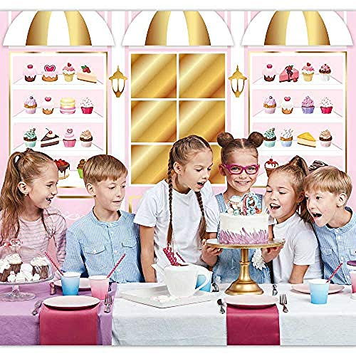 New Sweet Candy Shop Birthday Party Photography Backdrop Pink Gold Dessert Cup Cake Shoppe Store Decoration Background Photo Booth Supplies-10'x10'