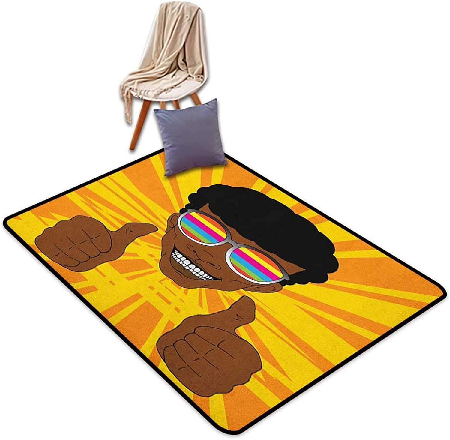 Room Bedroom Floor Rug Afro Happy Hippie Man with colorful Sunglasses Lifting His Thumbs Retro Positive Vibes Door Rug Increase W5'xL7'