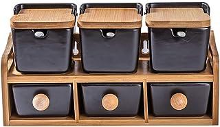 WZHZJ Creative en céramique Noire Assaisonnement Boîtes Assaisonnement en céramique Pot de Bambou Couvercle de Stockage du...