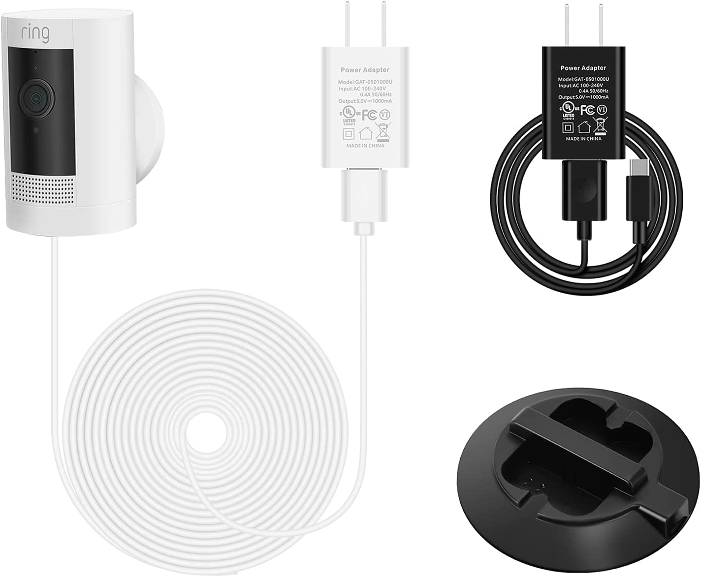 OLAIKE 8m 26ft Dallas Mall White DC Power with trust Charger Battery Adapter Stati