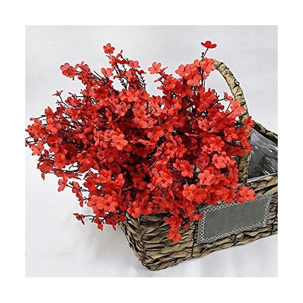 NAHUAA Flores Artificiales Pequeñas Gypsophila Artificiales 4pcs Orquideas Rojas Flor Baby's Breath Arbusto Artificial…