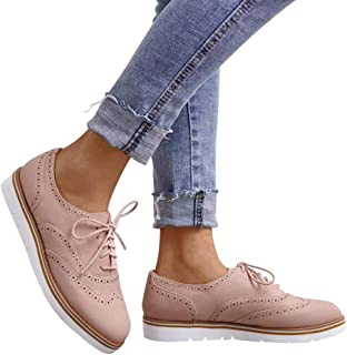 81f7212afb9 GOUPSKY Oxford Shoes for Women Brogues Platform Lace Up Loafers Flat Shoes  Slip on Perforated Wingtip