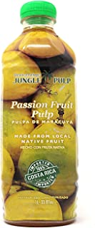 Jungle Pulp PASSION FRUIT Puree Mix Pasteurized Fruit from Costa Rica Perfect for Cocktails, Desserts, Smoothies and More. 33.81 Ounce / 1 Liter