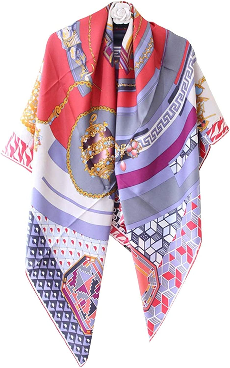BAOYIT Jewelry and Compass Warm Scarf for Women Silk Scarf 140cm Square Twill Silk Scarf (color   Pink)