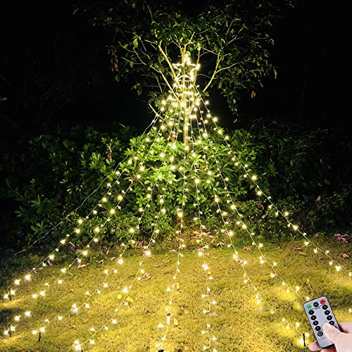 NIGHT-GRING Waterfall Christmas String Lights with 335 LED Star Hanging Twinkle Fairy Curtain Lights for Party Wedding Patio Indoor Outdoor Decorative Water Flow Lights - Warm White