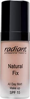 Natural Fix All Day Matte Cream Foundation By Radiant Professional - Long Wear High Coverage Face Makeup Foundation With SPF 15 - Oil Free Matte Finish - 1.01 oz. (04 PEACHY BEIGE)