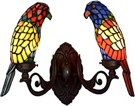 li@ Double-Headed Tiffany Style Wall Lamp, Creative Parrot Animal Wall Lamp, Retro Stained Glass Wall Lamp, E14*2, 36 * 30cm