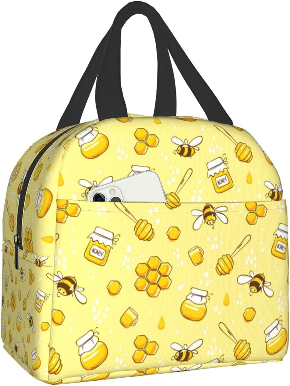 PrelerDIY Cute Bees And Honey Lunch Bags Brand Cheap Sale Venue f Box - Bombing new work Insulated