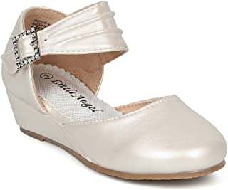 Girls Round Toe Ankle Strap Dorsay Ankle Strap Low Wedge HH17