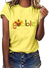NANTE Top Women's Blouse Thanksgiving Gobble Turkey Print T-Shirt Short Sleeve O-Neck Tee Shirts Women Blouses Christmas Pullover Tops