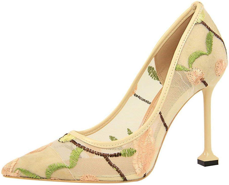 Schuhe Damen Stiefel Mode Einzelne Schuhe Frauen Pumpen Pumpen Pumpen Sticken Net Yarn High Heels Schuhe Sexy Dünne Spitze Einzelne Schuhe Erbsenschuhe Stiefel (Farbe   Beige, Größe   38 EU)  929b85