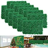 12pcs Boxwood Panels - 24'x16' Artificial Faux Hedge Plant for 31 SQ Feet Per Boxwood Hedge Set - Use for UV Protection Indoor Outdoor, Fence Privacy Screen, Grass Wall, Greenery Backdrop