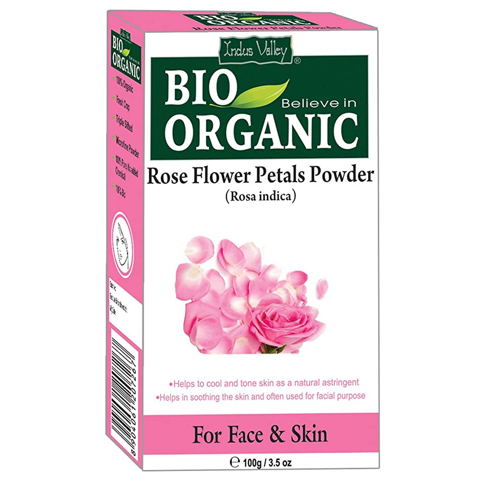 Indus Valley Organic Rose Petal Powder For Natural Cooling Agent