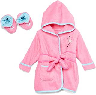 Spasilk 100% Cotton Hooded Terry Bathrobe With Booties, Pink Flamingo
