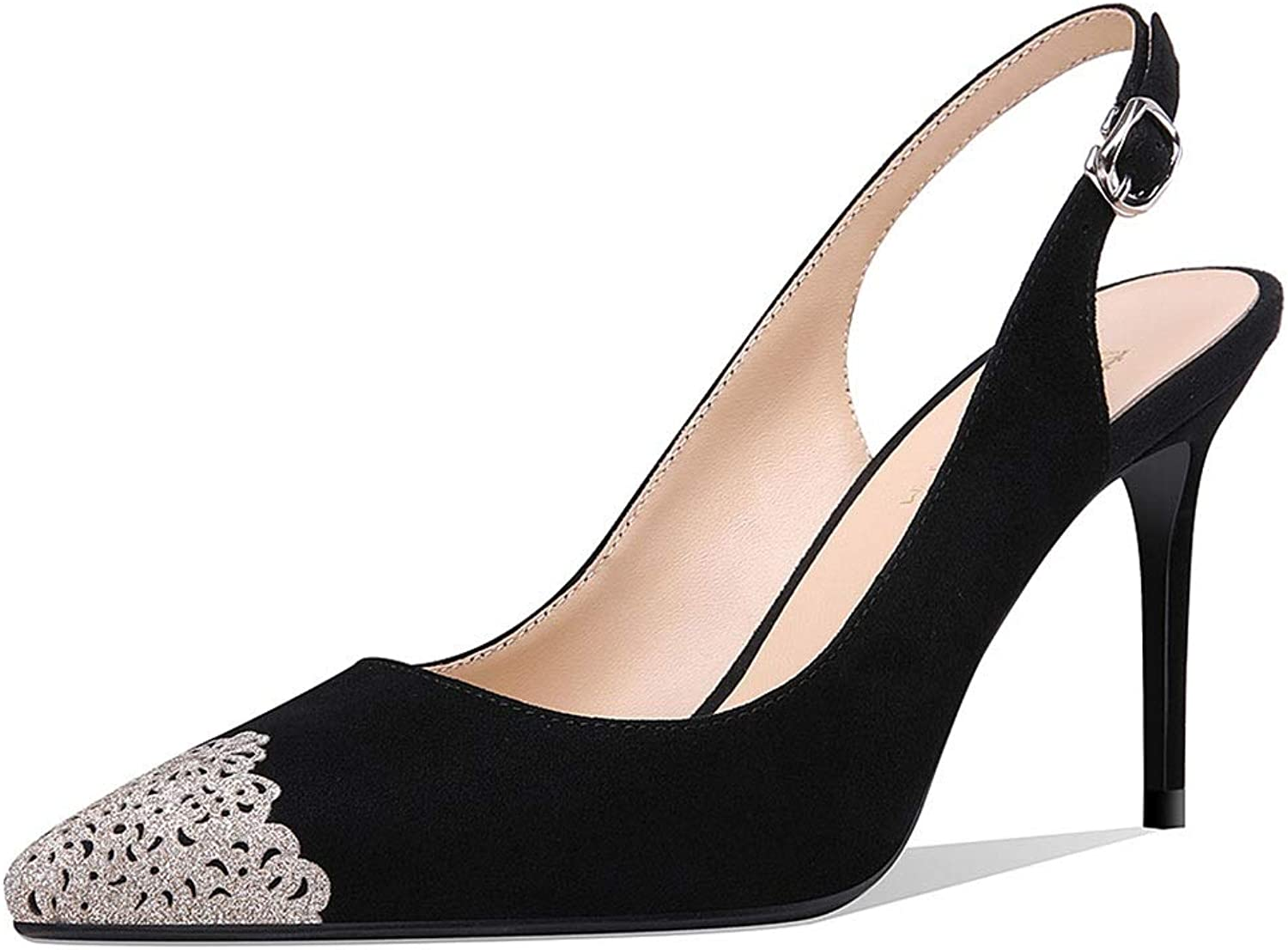 High Heels High Heels Ladies sandals Summer Pointed Stiletto shoes 8.5cm Matte Word with high Heels not Tired shoes Ladies sandals (color   Black, Size   39)