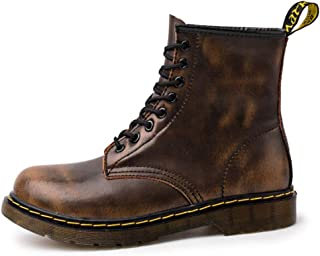 Dr. Martin Unisex Boots Desert coloring ankle boots couple high-top ankle boots wild tooling boots non-slip wear-resistant leather boots thick bottom waterproof boots (Color : Brown)
