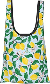 Cute Lemon Fruit Blue Themed Printed Women Canvas Handbag Waterproof Reusable Grocery Bags Eco Friendly Large Foldable Gro...