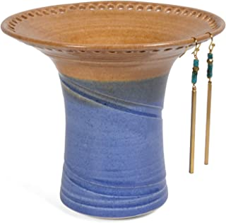 Barb Lund Pottery Earring Holder, Oatmeal/Medium Blue