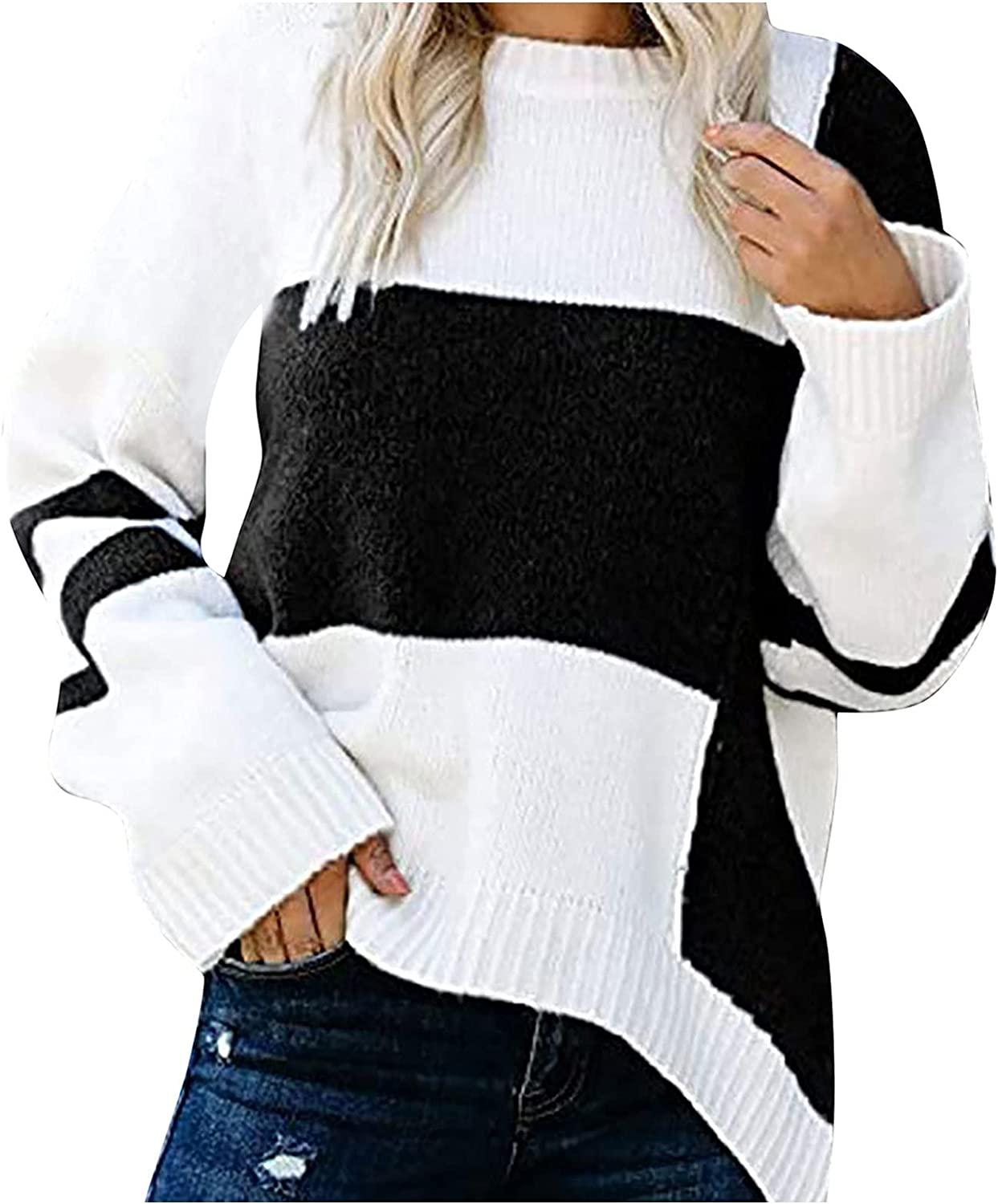 ODJOY-FAN Women's Round Neck Long Sleeve Sweater Loose Irregular Stripes Color Block Pullover Large Size Casual T-Shirt