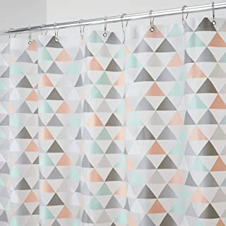 mDesign Decorative Triangle Print - Waterproof, Mold/Mildew Resistant, Heavy Duty PEVA Shower Curtain Liner, for Bathroom Showers, Stalls and Bathtubs - 72