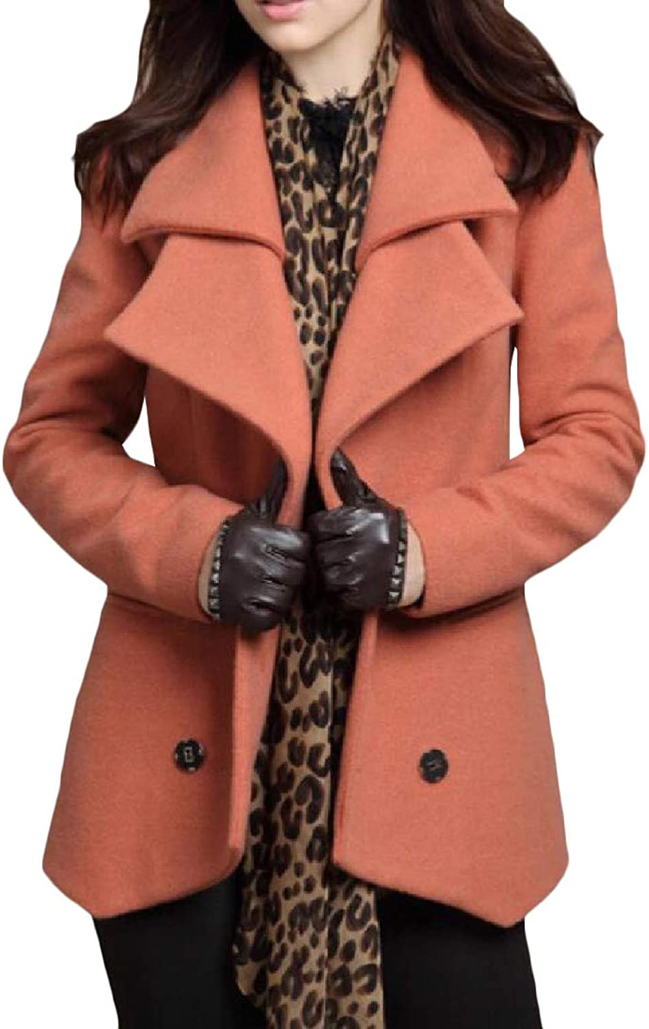 Agana Womens Double Notch Lapel Wool Blend Casual Outwear Pea Coat Jacket