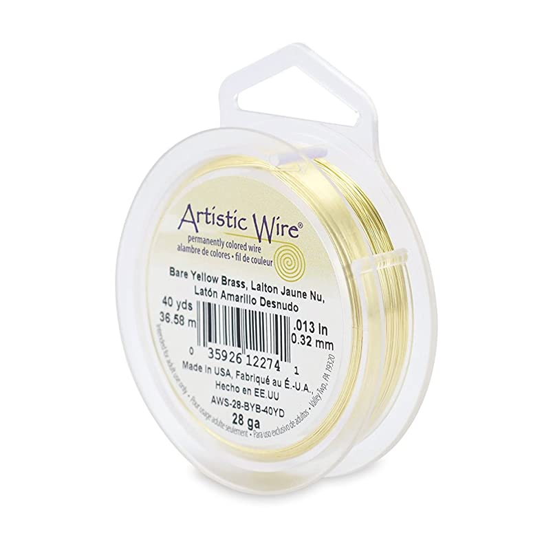 Beadalon 28-Gauge Artistic Wire, 40-Yard, Bare Yellow Brass mh949055027