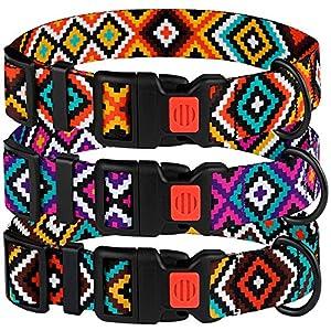 CollarDirect Aztec Dog Collar Adjustable Nylon Tribal Pattern Geometric Pet Collars for Dogs Small Medium Large Puppy (Tribal Magenta, Neck Fit 10″-13″)