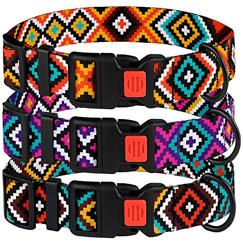 CollarDirect Aztec Dog Collar Adjustable Nylon Tribal Pattern Geometric Pet Collars for Dogs Small Medium Large Puppy (Tribal Magenta, Neck Fit 12-16)