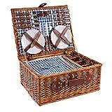 eGenuss LY12041BLU Handgefertigtes Picknickkorb für 4 Personen - Inklusive Edelstahlbesteck, Kühlfach, Weingläser und Keramikteller – Blaues Gingham-Muster 47x34x20 cm