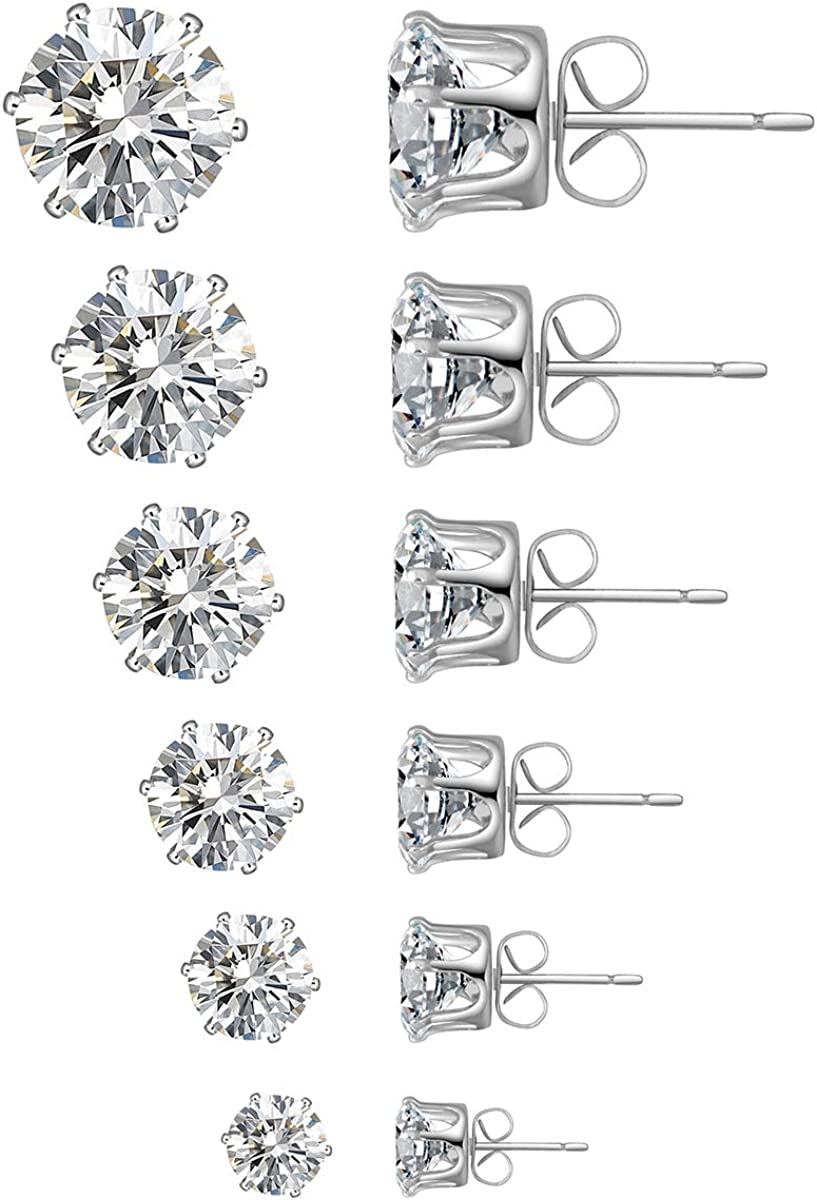6 Pairs Stud Earrings Set Clear Cubic St Stainless 55% OFF Zirconia 316L Deluxe