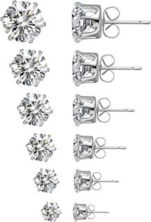 گوشواره های گل میخ ، 6 ست جواهرات گوشواره ای به اندازه 6 پاریس برای گوشواره های گل میخ 6 مکعبی زیرکونیا
