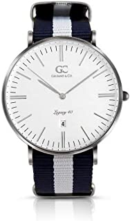 Gelfand & Co. Unisex Minimalist Watch Blue/White NATO Strap Crosby 40mm Silver with White Dial